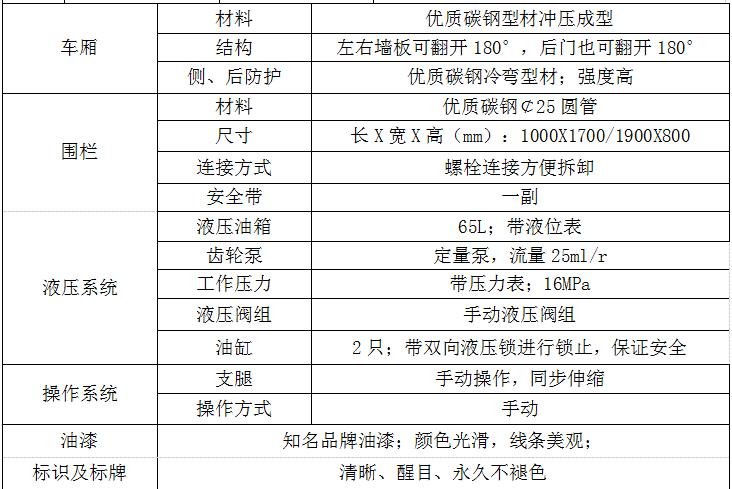 东风箭刀式高空作业平台参数